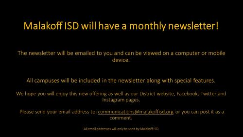 Sign up for district news letter - English