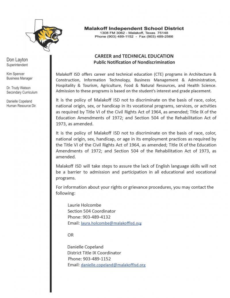 CTE Non-Discrimination Notice