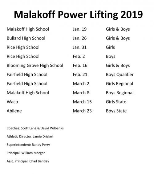 2019 Power Lifting Schedule