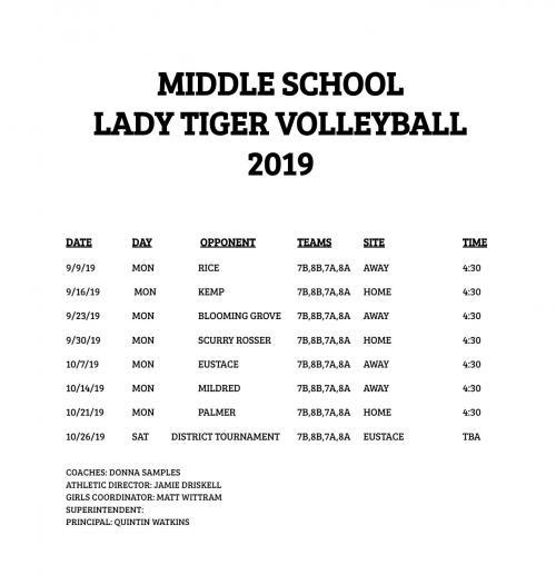 2019 MS Volleyball Schedule
