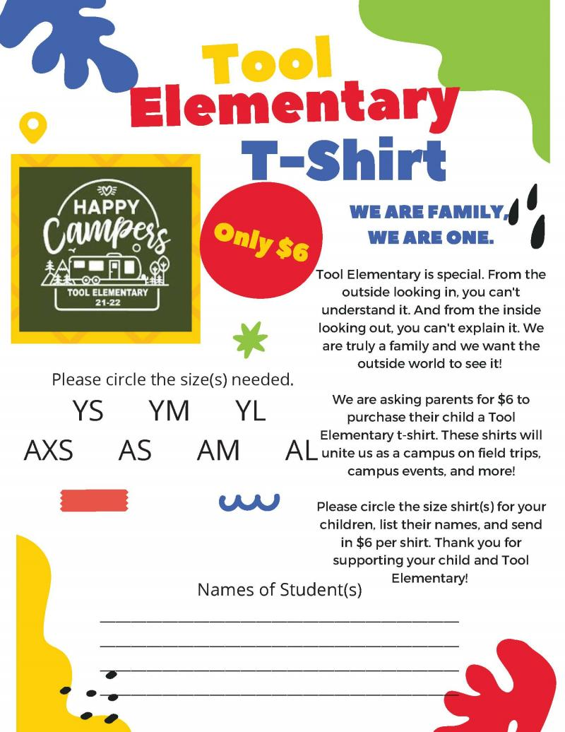Please Order Your TES T-Shirts By October 29th.