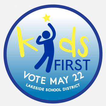 Blue and gold KIDS FIRST Millage Campaign Logo:  Vote May 22