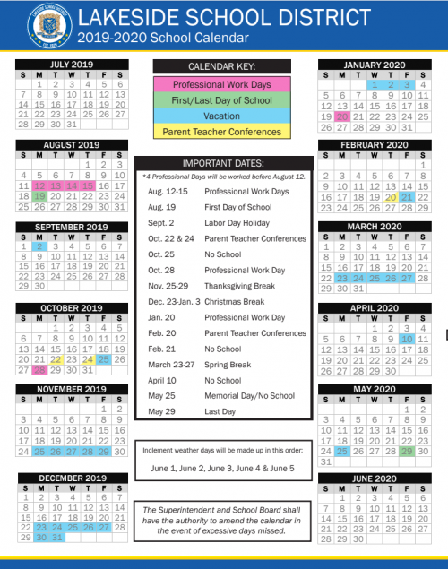 2019-2020 District Calendar thumbnail