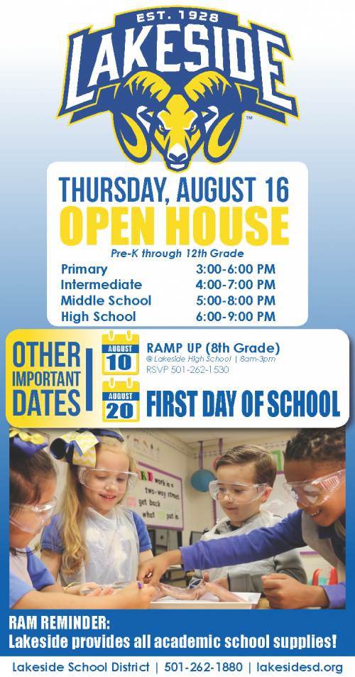 Important dates for back to school: Open House 8/16; 1st Day of School 8/20; Ramp Up 8/10