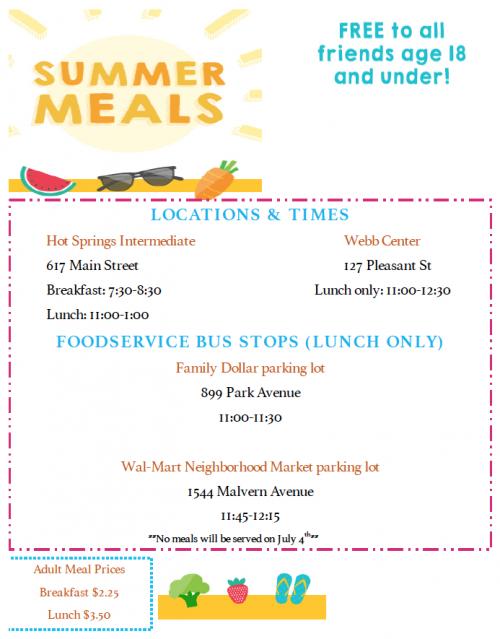 summer lunch schedule/prices