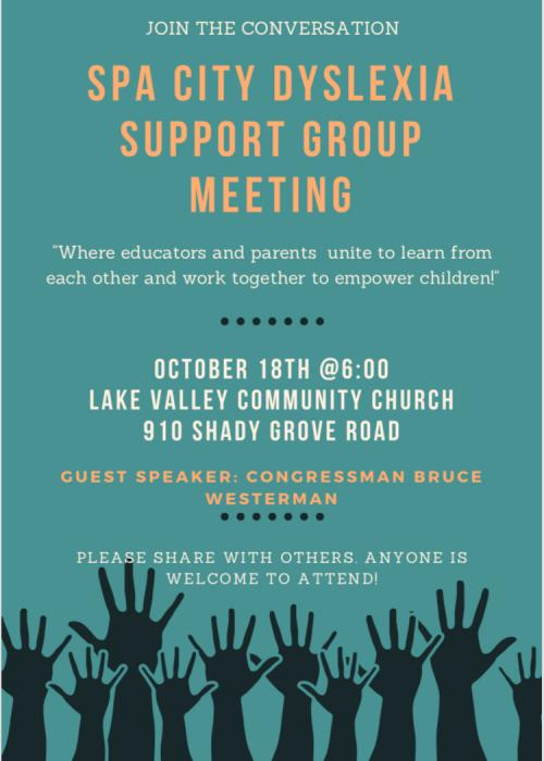 Spa City Dyslexia Support Group Meeting on October 18th 6PM Lake Valley Community Church