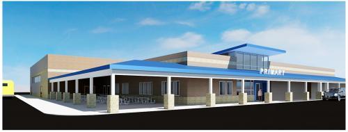 Primary entrance & cafeteria