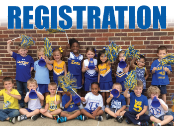 This button will take you to the registration page. Picture of Primary students showing school spirit in blue and gold.