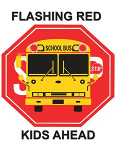 Flashing red kids ahead logo