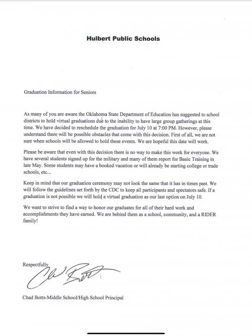 Graduation Reschedule Announcement