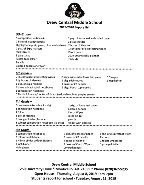 Middle School 2019-2020 Supply List