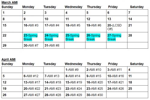 AMI Schedule - March - April