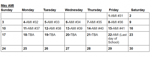 AMI Schedule - May