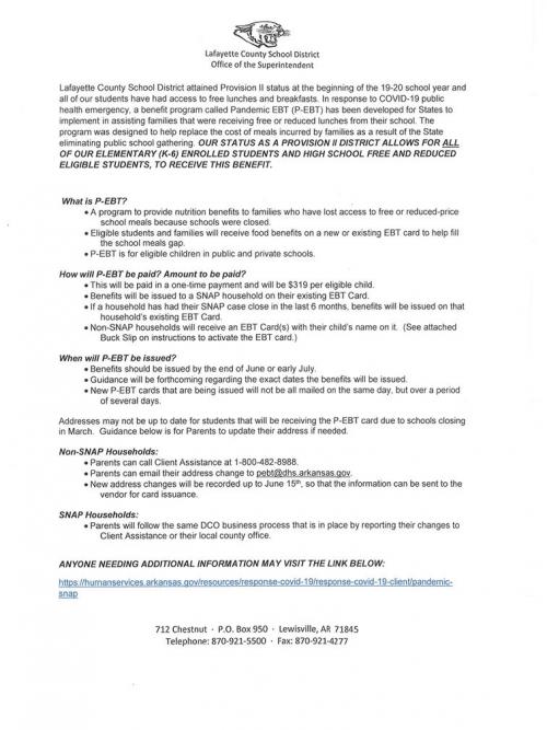 2020 Pandemic Snap Benefit Announcement
