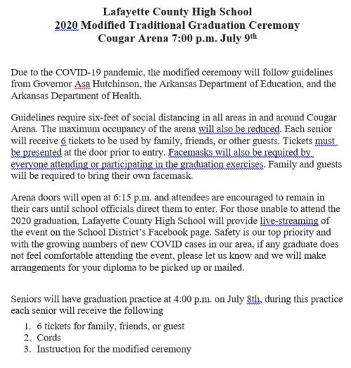 July 9, 2020 High School Graduation Announcement