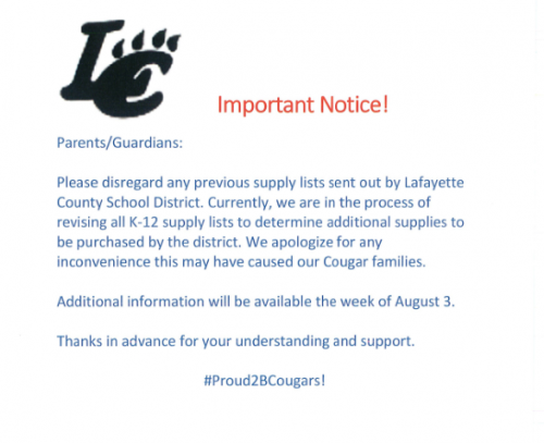 Notice - School Supply Lists are on hold.