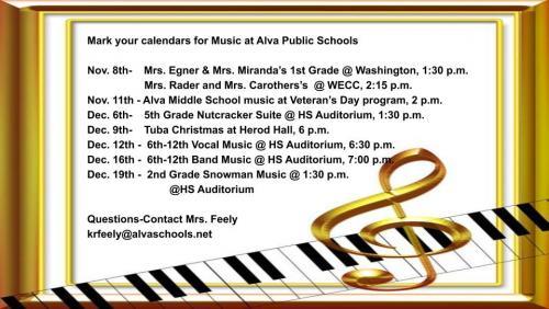 Alva Music Schedule