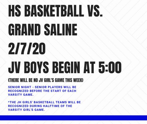 HS Basketball vs. Grand Saline 2/7
