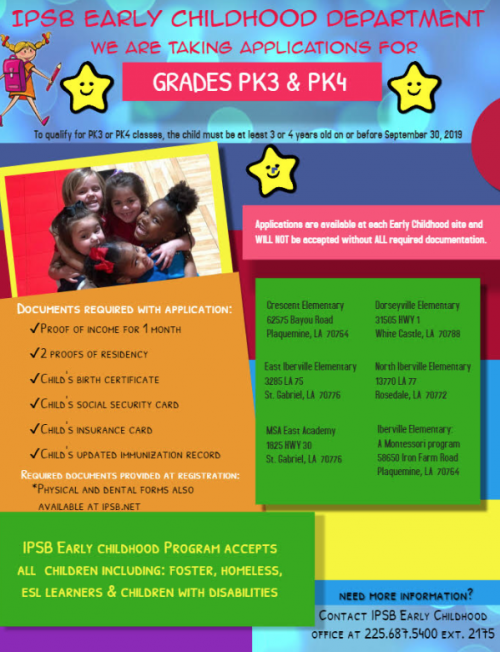 PreK Sign Up information