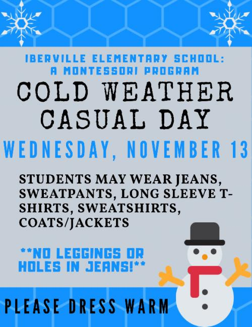 Cold Weather Announcement
