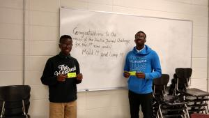 Practice Journal Challenge winners for the first nine weeks 2018-19, for PHS: Malik M. and Larry M.