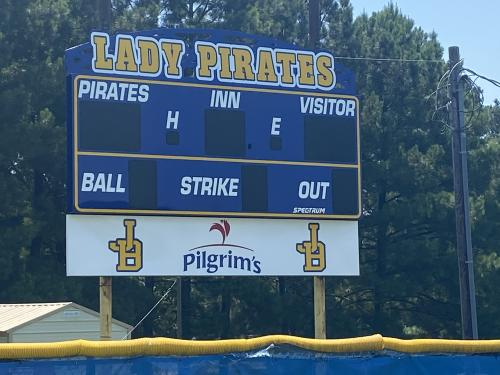 Lady Pirate Softball Scoreboard!  Thank you Pilgrim's for donating it!