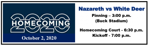 Game starts at 7 Friday, October 2, 2020, homecoming court 6:30 p.m