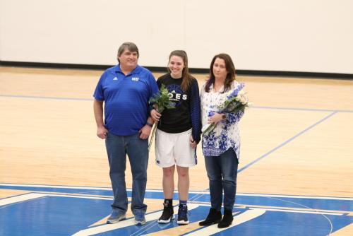 Hannah Grange and parents senior night 2019