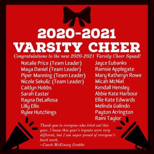 2020-2021 Varsity Cheerleaders