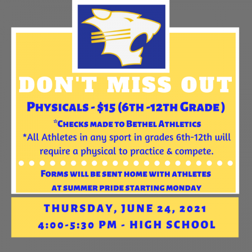 2021 Physicals available June 24th