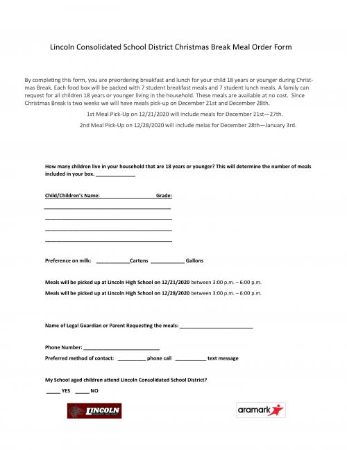 Christmas Meal Order Form