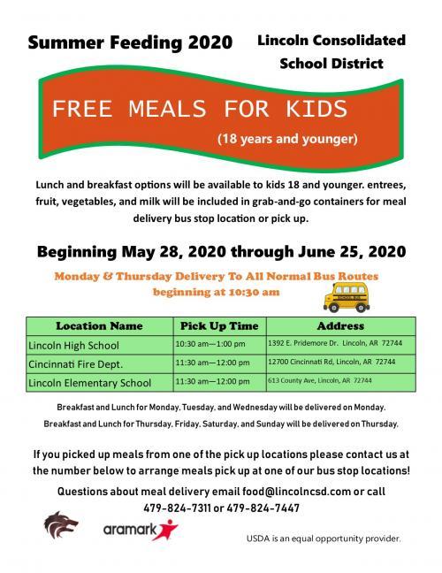 Summer Feeding 2020 Schedule