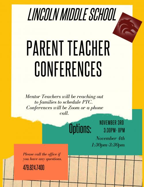 Parent Teacher Conferences Middle School Flyer