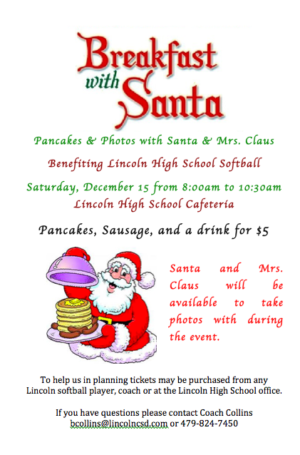 Breakfast with Santa Fundraiser. Saturday December 15th in LHS cafeteria from 8 am to 10:30 am.