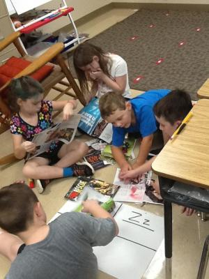 Group work to find ABCs in magazines!