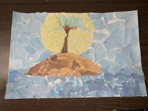 7th grade watercolor landscape collage