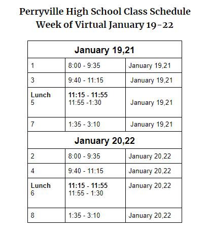 Virtual Bell Schedule Jan 19-22