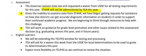 TEA Statement about STAAR testing for Spring 2020