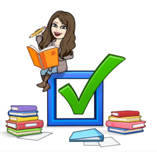 Bitmoji cartoon of the librarian sitting on top of a box, surrounded with books
