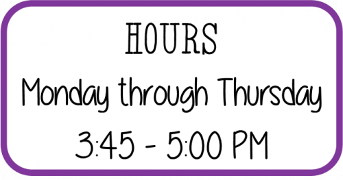 After School Program Hours, Monday through Thursday, 3:45 PM to 5:00 PM