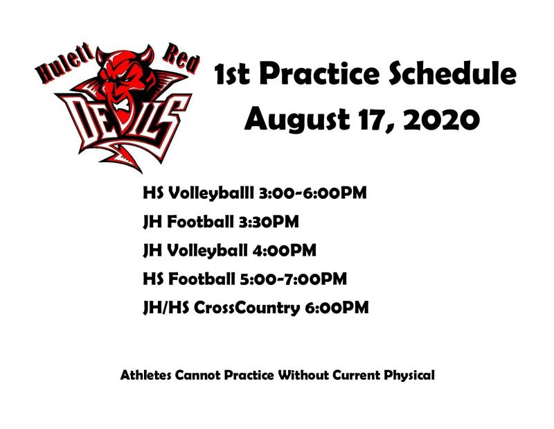 1st Fall Practice Schedule