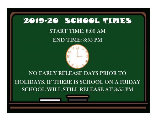 School Hours 2019-20