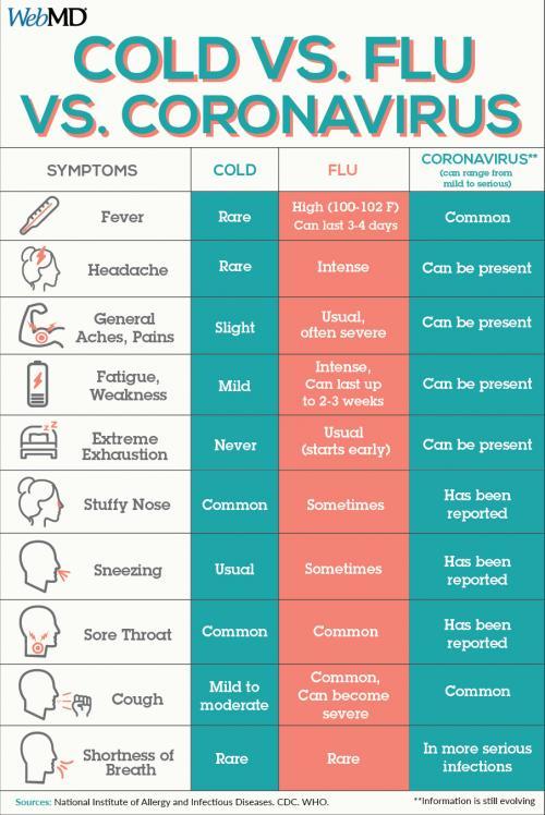 Corona Virus vs flu vs cold
