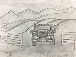 Austin's drawing that won the Artsonia Artist of the Week for Sep. 18-22, 2017