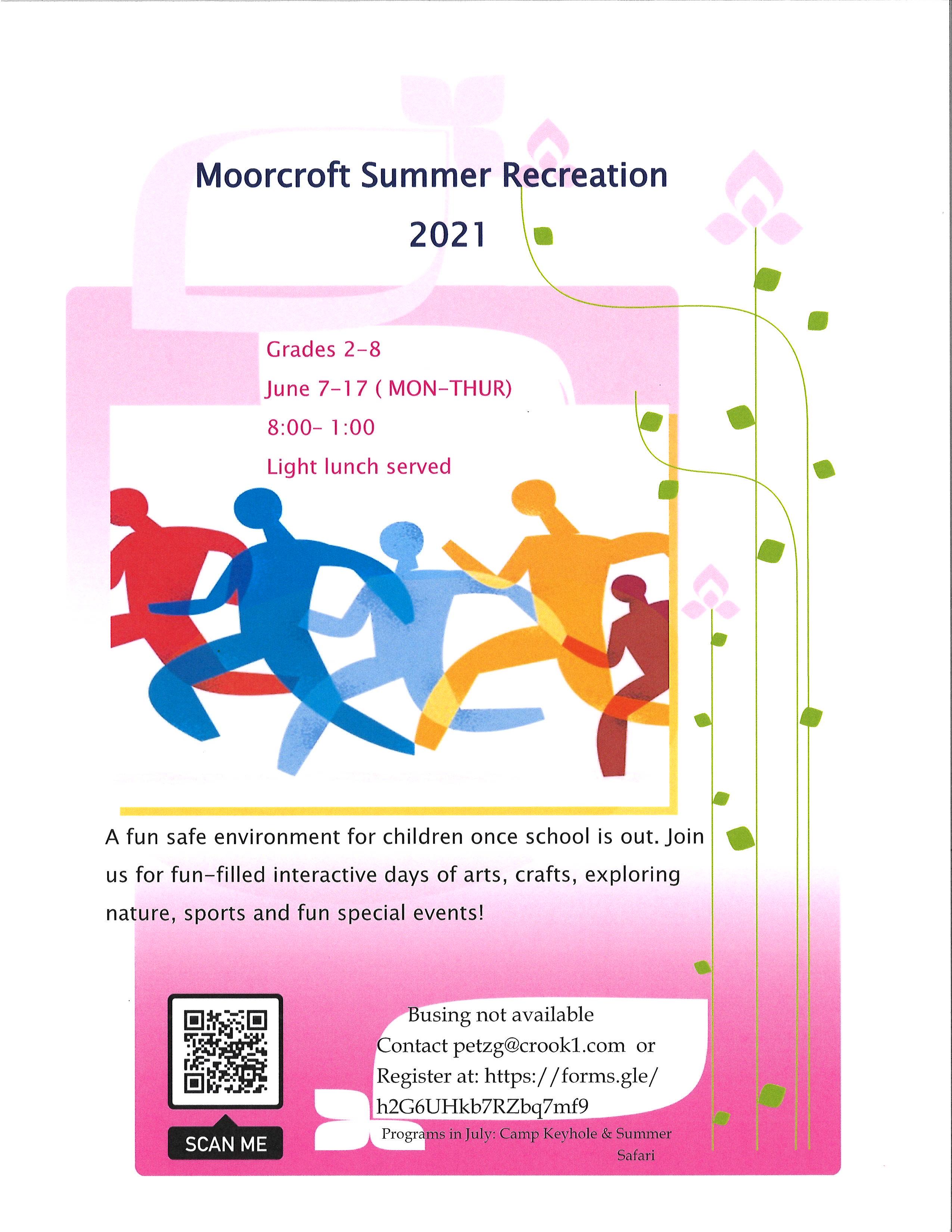 Summer Recreation Program June 7-17 open to grades 2-8