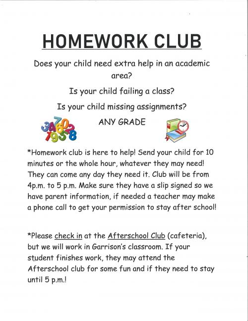 Homework Club at MK8 school from 4:00 to 5:00 pm