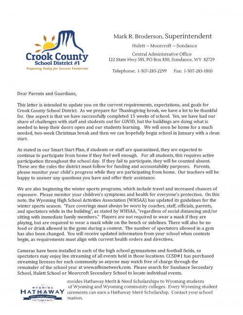 Letter from Superintendent Mark Broderson about current requirements, expectations, and goals for Crook County School District