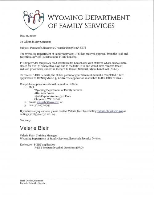 Cover Letter with information on who can apply for P-EBT benefits