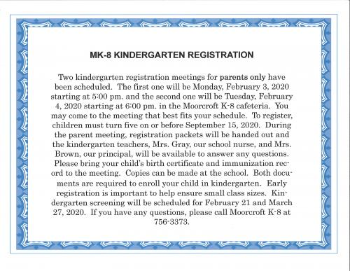 Kindergarten Registration Meeting February 3rd and 4th
