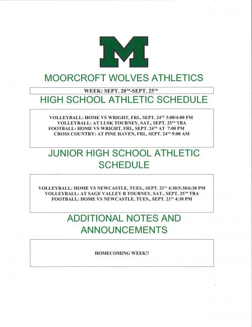Weekly Athletic Schedule for the week of September 20 to September 25